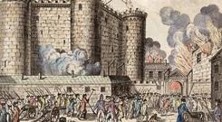 Bastille Day: Citizens of Paris, headed by the National Guards, storm the Bastille prison in an event which has come to be seen as the start of the French Revolution, 14th July 1789.