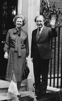 From friends to foes: Charles Haughey on the steps of London's number 10 Downing Street with British Prime Minister Margaret Thatcher in 1980. (Photo by Keystone/Getty Images)