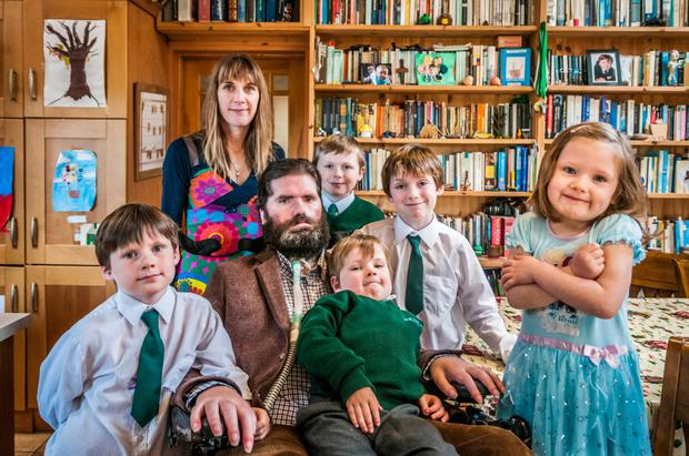 Ruth and husband Simon Fitzmaurice with their five children. Photo: Marc Atkins