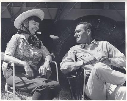 Michael's aunt 'Hank' and uncle Irving on the set of Hud in 1962