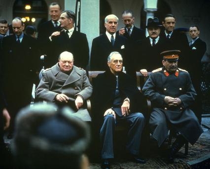 In the beginning: Winston Churchill, Franklin Delano Roosevelt and Joseph Stalin at the Yalta Conference, February 1945 before Churchill warned about an iron curtain descending over eastern Europe
