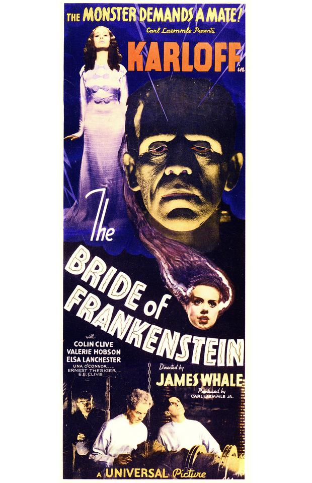 A poster for James Whale's 1935 horror film 'Bride Of Frankenstein', starring Boris Karloff and Elsa Lanchester. (Photo by Silver Screen Collection/Getty Images)