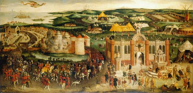 The painting of Henry VIII's procession to meet Francis i of France in Calais - The Field of the Cloth of Gold - is now attributed to the British School but was previously attributed to Hans Holbein the Younger
