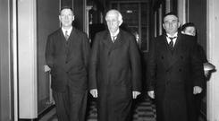 Corridors of power: (from left) Éamon de Valera, Chief Justice Timothy O'Sullivan and Ceann Comhairle Frank Fahy on day the Constitution came into force