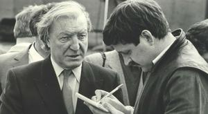 Old foes: Frank with Charlie Haughey in 1987