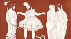 Tragic hero: Oedipus, the King of Thebes (centre), with Tiresias (left) and young Theban girls