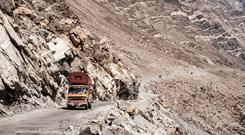 Scary ride: The Indus Highway in Pakistan is the background for one of Rosita's stories