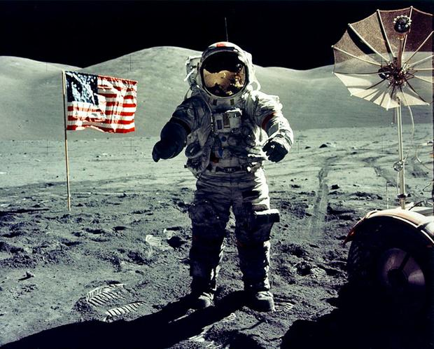 One small step: astronaut Eugene Cernan walks on the Moon in 1972