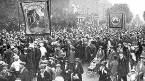 Cultural gulf: The annual procession of the Orangemen in Belfast in 1922, a year after partition