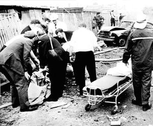 Rescue workers deal with the aftermath of Bloody Friday in 1972