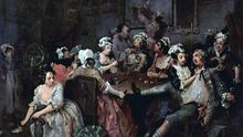 Women of ruined reputations in the 18th century often ended up as prostitutes in brothels such as these in a painting by William Hogarth