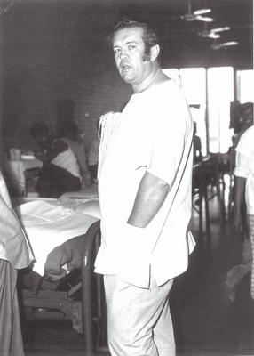 Aengus at a feeding centre in Gabon, West Africa, in 1969