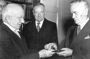 Disapproval: Maurice Moyhinan (centre) opposed the sending of a telegram by former Taoiseach John A Costello (right) to Pope Pius XII