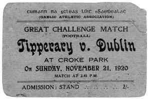 A ticket for the game that turned into 'Bloody Sunday' back in 1920.
