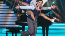 New dad Aidan O'Mahony and dancer Valeria Milova on 'Dancing With The Stars'. Left: the image he tweeted after the birth of his new daughter Picture: Kyran O'Brien