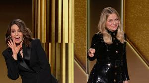 Hosts Tina Fey (L) and Amy Poehler are seen in this handout screen grab from the 78th Annual Golden Globe Awards, in Beverly Hills, California, U.S., February 28, 2021