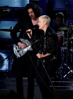 Hozier performs 'Take Me To Church' with Annie Lennox at the 57th annual Grammy Awards in Los Angeles, California at the weekend.  Photo: Reuters/Lucy Nicholson