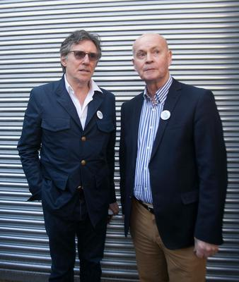 """Gabriel Byrne & Pat Carey during """"A Noble call For Marriage Equality"""" in support of The Yes Camp at the Abbey Theatre, Dublin. Photo: Gareth Chaney Collins"""