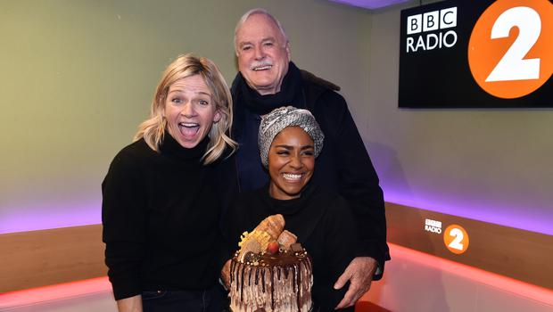 Zoe Ball, with guests Nadiya Hussain and John Cleese (BBC/PA)