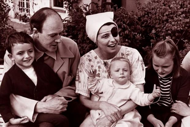 Roald Dahl and Patricia Neal (recovering from a stroke, hence the eye patch) in 1965, with their children Theo, baby Ophelia and Tessa, at their home in Great Missenden.