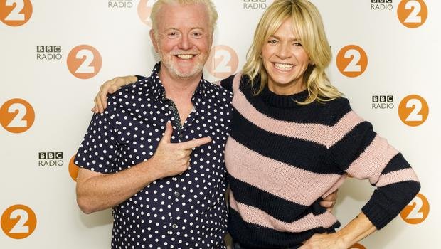 Chris Evans, with his replacement, Zoe Ball (Sarah Jeynes/BBC)