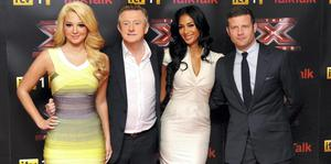 CHEERY: Dermot O'Leary, opposite page, still gets a little nervous, even now, before the start of an X-Facator live show. Above, Dermot, right, with, from left, Tulisa Contostavlos, Louis Walsh, and Nicole Scherzinger at the launch in London of X-Factor 2012. Photo: Ian West/PA