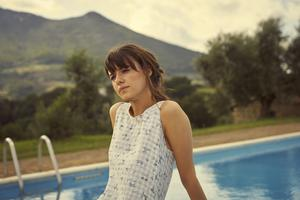 The soft gingham dress Marianne  wore in Italy; Picture by Enda Bowe © ELEMENT PICTURES