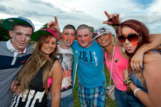 Der Naill, Mel Hickey, Dick Dowling, Niall Duggie, Nicola Heeney and Aideen Lennon all from Wicklow at the Oxegen campsite on Friday