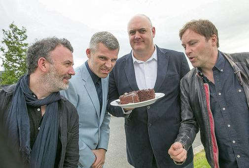 Pictured before the sold-out 20th birthday party for the Cat Laughs festival in Kilkenny were headliners, from left, Tommy Tiernan, Des Bishop, Dara O Briain and Ardal O'Hanlon.