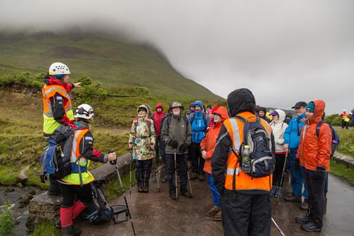 Show must go on, and up: The theatre-goers prepare to ascend Ben Bulben for the performance