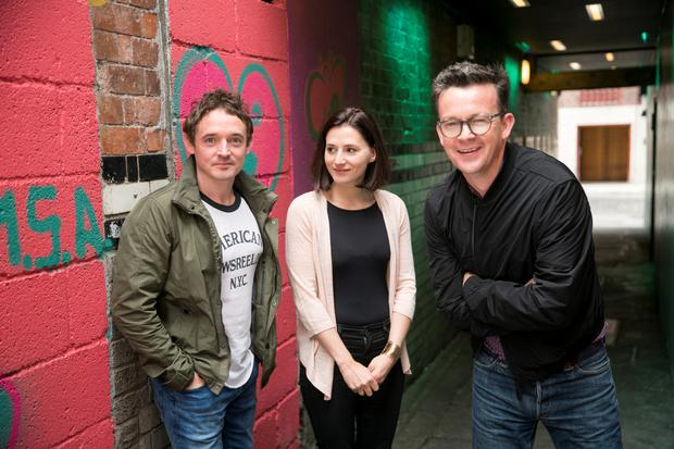 'Weird fable': Arlington stars Hugh O'Conor and Charlie Murphy with playwright Enda Walsh.