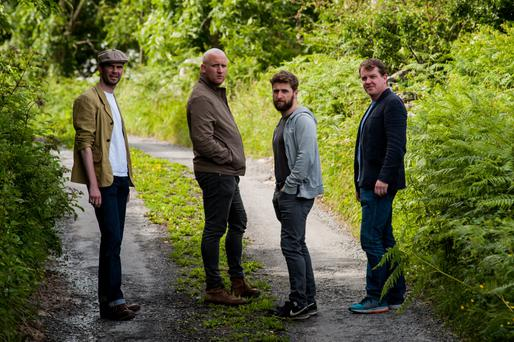 Playing with meaning: (l-r) Marty Rea, Rory Nolan, Aaron Monaghan and Garrett Lombard will star in Druid's version of Waiting for Godot this month at the Galway International Arts Festival.