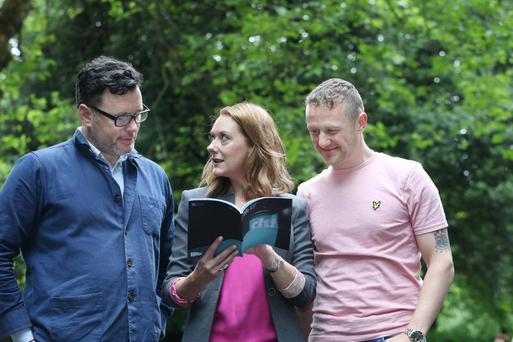 Stage is set: Dublin Theatre Festival director Willie White with actress Cathy Belton, who's starring in a new Druid production, and comedian PJ Gallagher, who's appearing in Alien Documentary