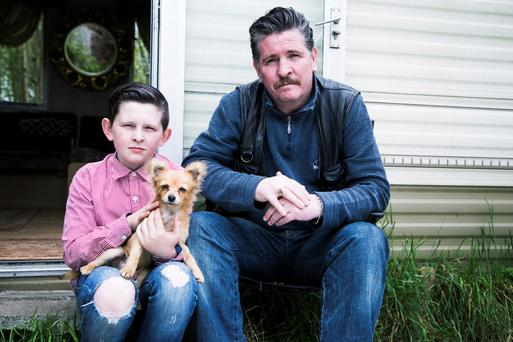 Raw tragedy: Michael Collins and son Johnny in Traveller play Ireland Shed a Tear? Photo: Al Craig