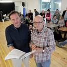Big sounds: Gavin Quinn and Roddy Doyle at the Don Giovanni rehearsals. Photo: Mark Stedman