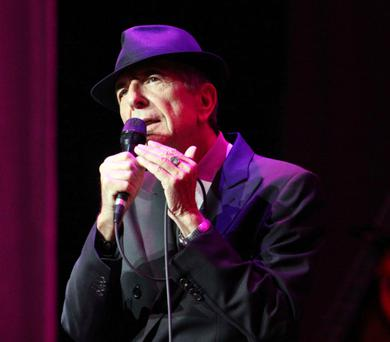 Leonard Cohen on stage in Atlanta during his Old Ideas World Tour