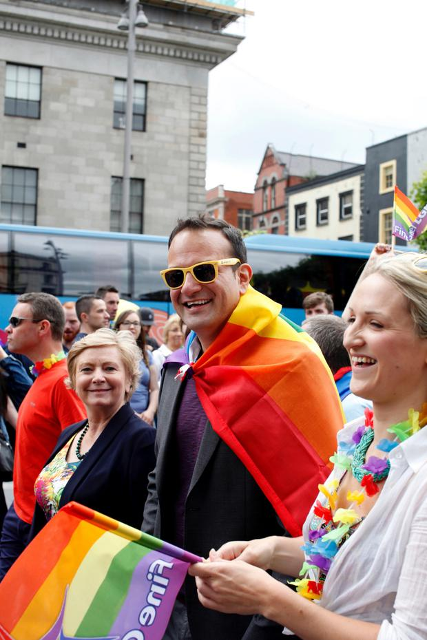 Then Minister for Health Leo Varadkar and Minister for Justice Frances Fitzgerald at the Pride parade in 2015