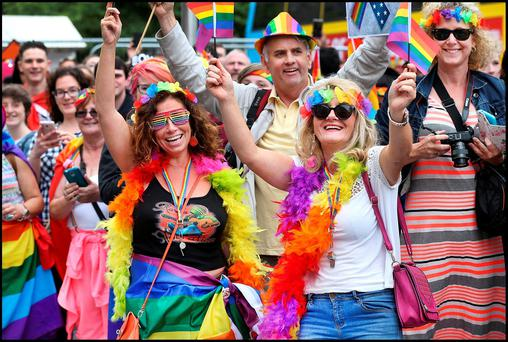 True colours: Dolores Quinlan and Valerie O'Dwyer at the LGBT Pride parade in Dublin last year