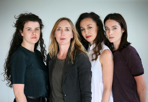 Dystopian vision: Amy McElhatton, director Annabell Comyn, Kate Stanley Brennan and Siobhán Cullen from Crestfall. Photo: Frank Mc Grath