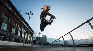 Jump to it: Celina Jaffe from Ravenous at the launch of Limerick Fringe. Photo: True Media