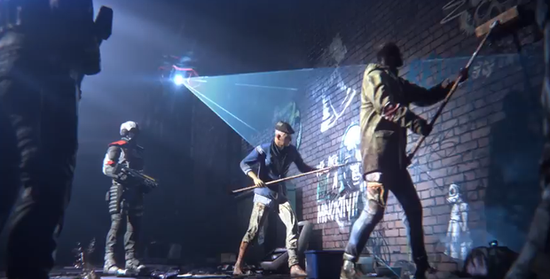Homefront: The Revolution - citizens clean graffiti under the watchful eye of a surveillance drone and an armed patrol