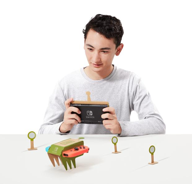 The Nintendo Labo includes several objects to build including this remote-controlled car