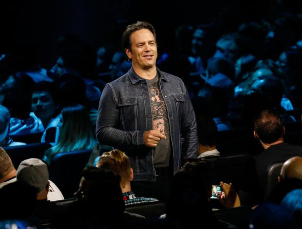 Xbox boss Phil Spencer speaks at the company's E3 2018 briefing in LA