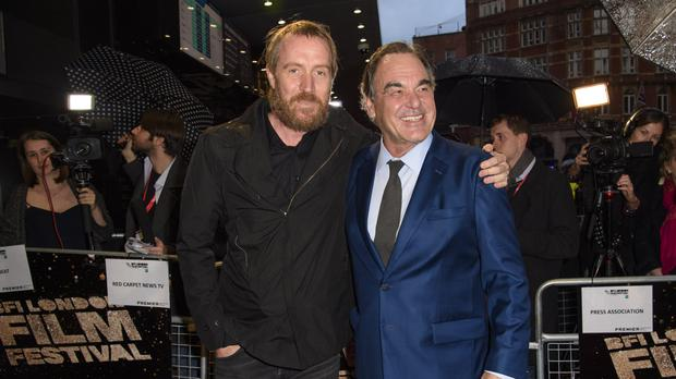 Rhys Ifans and Oliver Stone attending the 60th BFI London Film Festival screening of Snowden