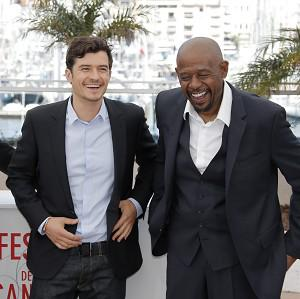 Orlando Bloom and Forest Whitaker in Cannes with director Jerome Salle