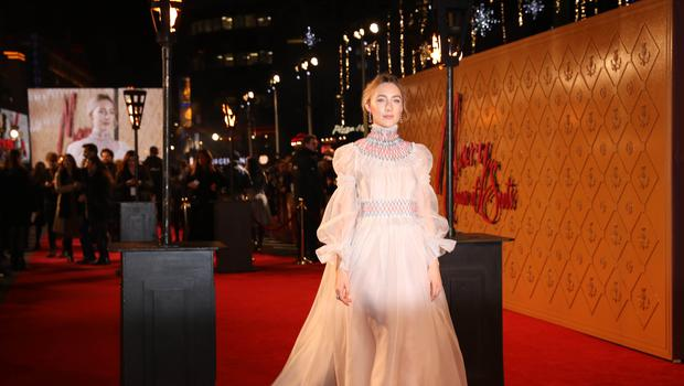 Saoirse Ronan arrives at the European premiere of Mary Queen of Scots in London (Isabel Infantes/PA)