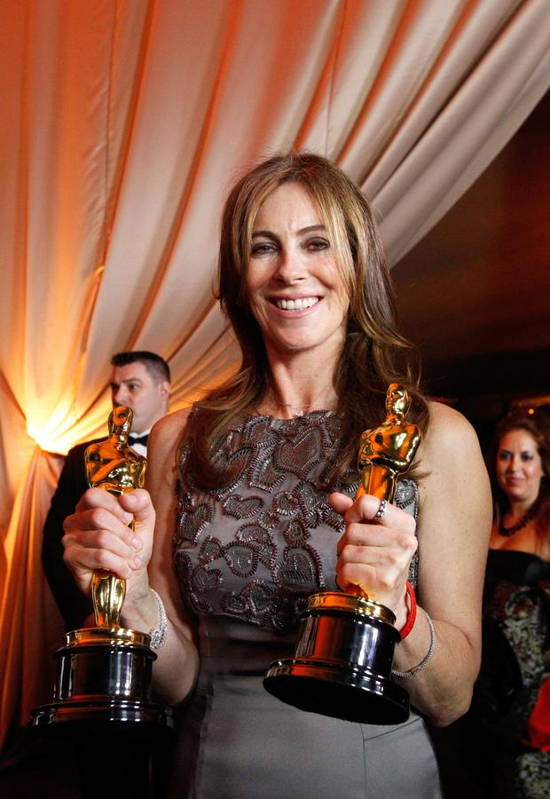 Kathryn Bigelow with her two Oscars for The Hurt Locker in 2010