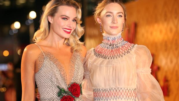 Margot Robbie (left) and Saoirse Ronan at the film's European premiere (Isabel Infantes/PA)