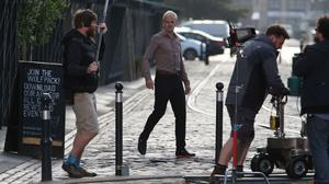 Actor Jonny Lee Miller during the filming of a scene from Trainspotting 2