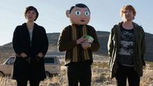 Michael Fassbender as Frank with Maggie  Gyllenhaal and Domhnall Gleeson